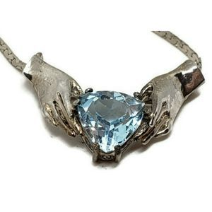Vintage Heart In H Topaz 925 Silver Claddagh